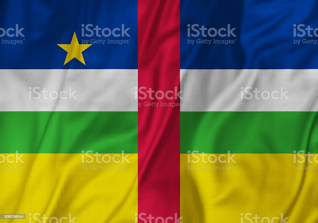 Closeup of Ruffled Central African Republic Flag, Central African Republic Flag Blowing in Wind stock photo