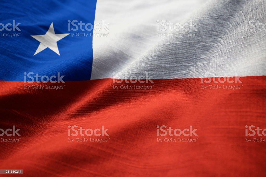 Closeup da bandeira do Chile com babados - foto de acervo