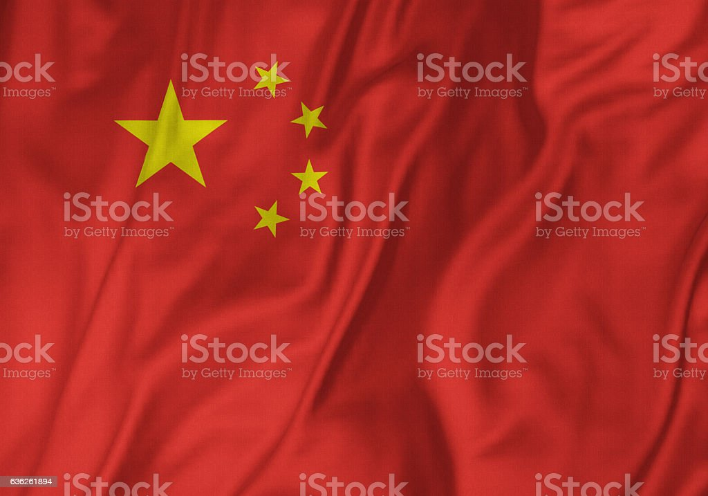 Closeup of Ruffled China Flag, China Flag Blowing in Wind stock photo
