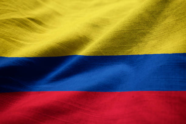 Closeup of Ruffled Colombia Flag Closeup of Ruffled Colombia Flag, Colombia Flag Blowing in Wind country geographic area stock pictures, royalty-free photos & images