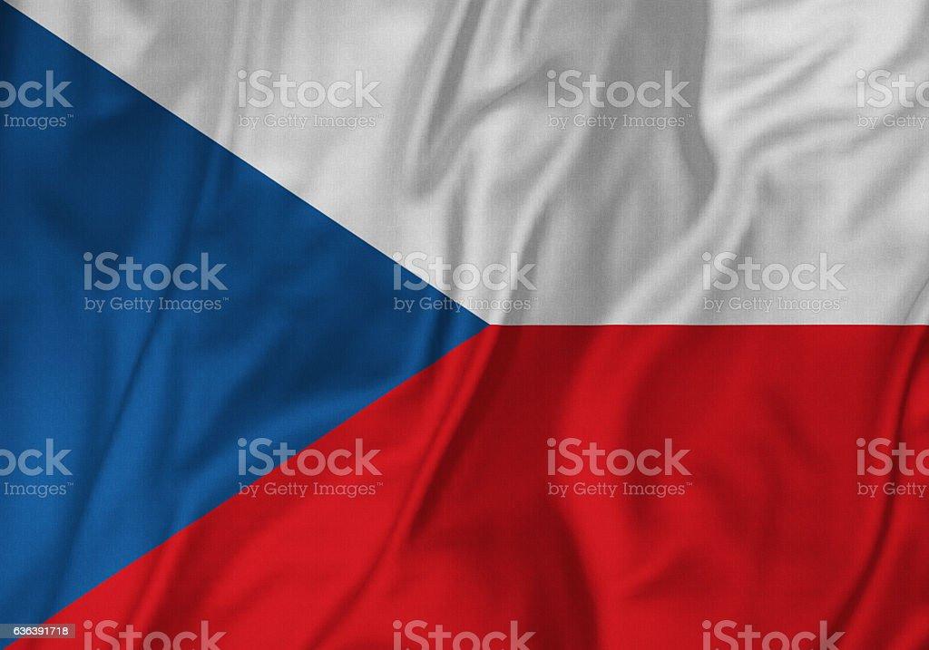 Closeup of Ruffled Czech Republic Flag, Czech Republic Flag Blowing in Wind - foto de stock