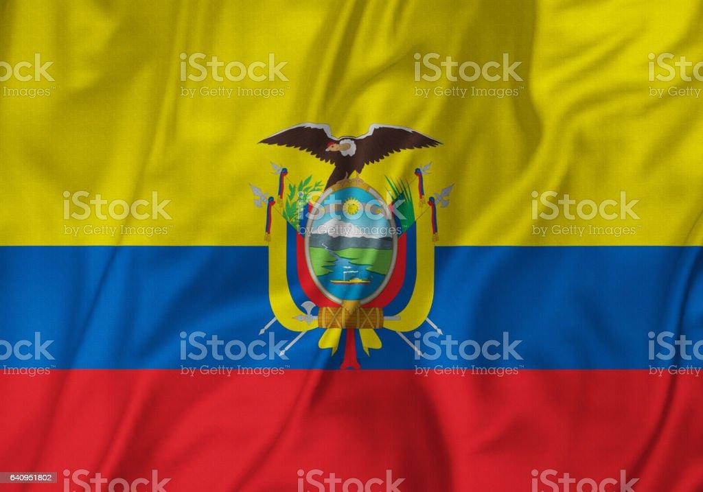 Closeup de la bandera de bandera, Ecuador Ecuador con volantes soplando en el viento - foto de stock