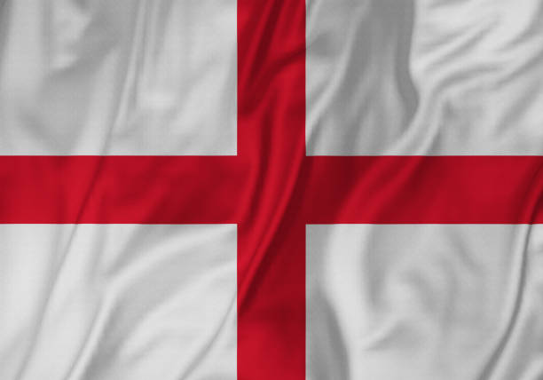 Closeup of Ruffled England Flag, England Flag Blowing in Wind stock photo