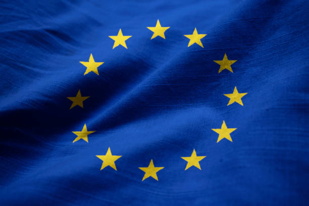 Closeup of Ruffled European Union Flag Closeup of Ruffled European Union Flag, European Union Flag Blowing in Wind country geographic area stock pictures, royalty-free photos & images