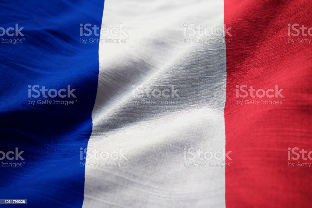 Gros plan du drapeau de la France ébouriffé - Photo
