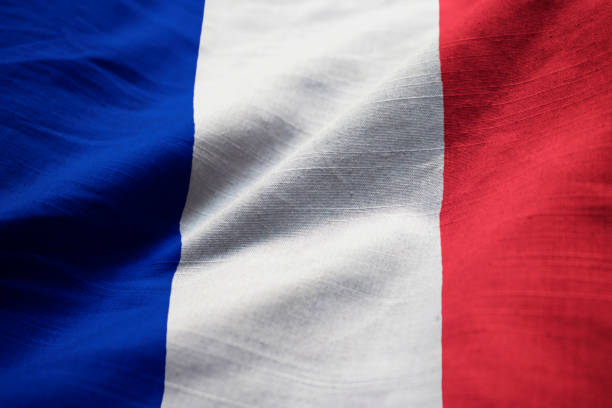 Closeup of Ruffled France Flag Closeup of Ruffled France Flag, France Flag Blowing in Wind country geographic area stock pictures, royalty-free photos & images