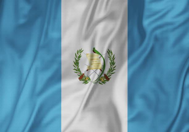 Closeup de la bandera de la bandera, Guatemala de Guatemala con volantes soplando en el viento - foto de stock