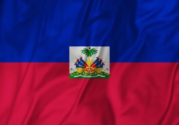 Closeup of Ruffled Haiti Flag, Haiti Flag Blowing in Wind Closeup of Ruffled Haiti Flag, Haiti Flag Blowing in Wind Haiti Flag stock pictures, royalty-free photos & images