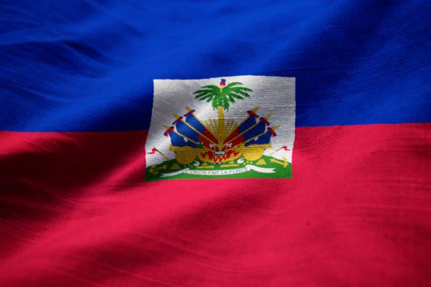 Closeup of Ruffled Haiti Flag Closeup of Ruffled Haiti Flag, Haiti Flag Blowing in Wind Haiti Flag stock pictures, royalty-free photos & images