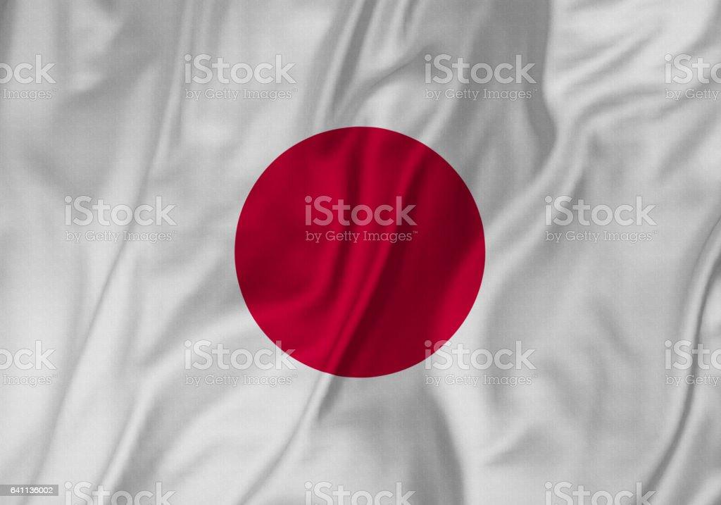 Closeup da bandeira de bandeira, Japão Japão babados soprando no vento - foto de acervo