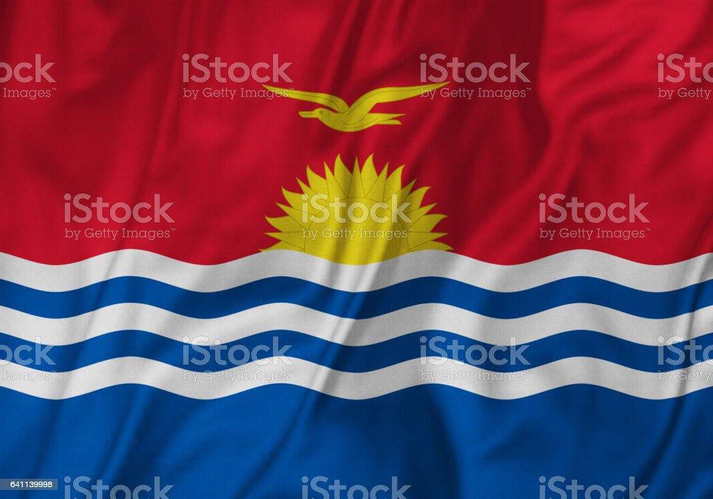 Closeup of Ruffled kiribati Flag, kiribati Flag Blowing in Wind stock photo