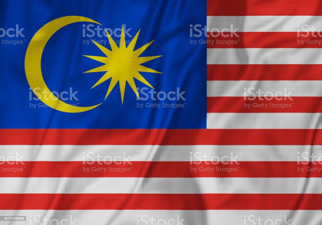 Closeup de babados Malásia Malaysia, bandeira bandeira Blowinga no vento - foto de acervo