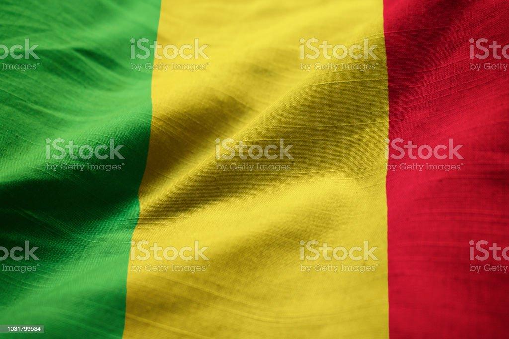 Closeup da bandeira de Mali babados - foto de acervo