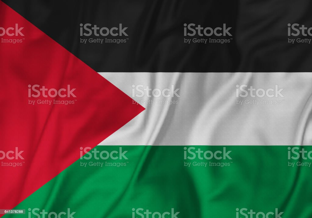 Closeup of Ruffled Palestinian Flag, Palestinian Flag Blowing in Wind stock photo