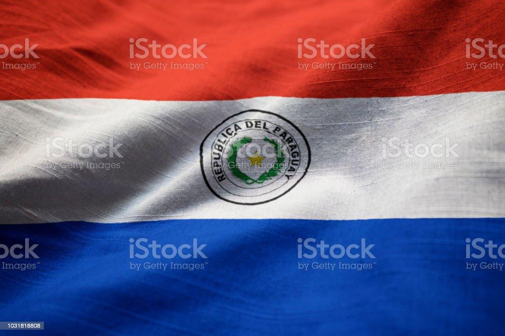 Closeup de la bandera de Paraguay con volantes - foto de stock