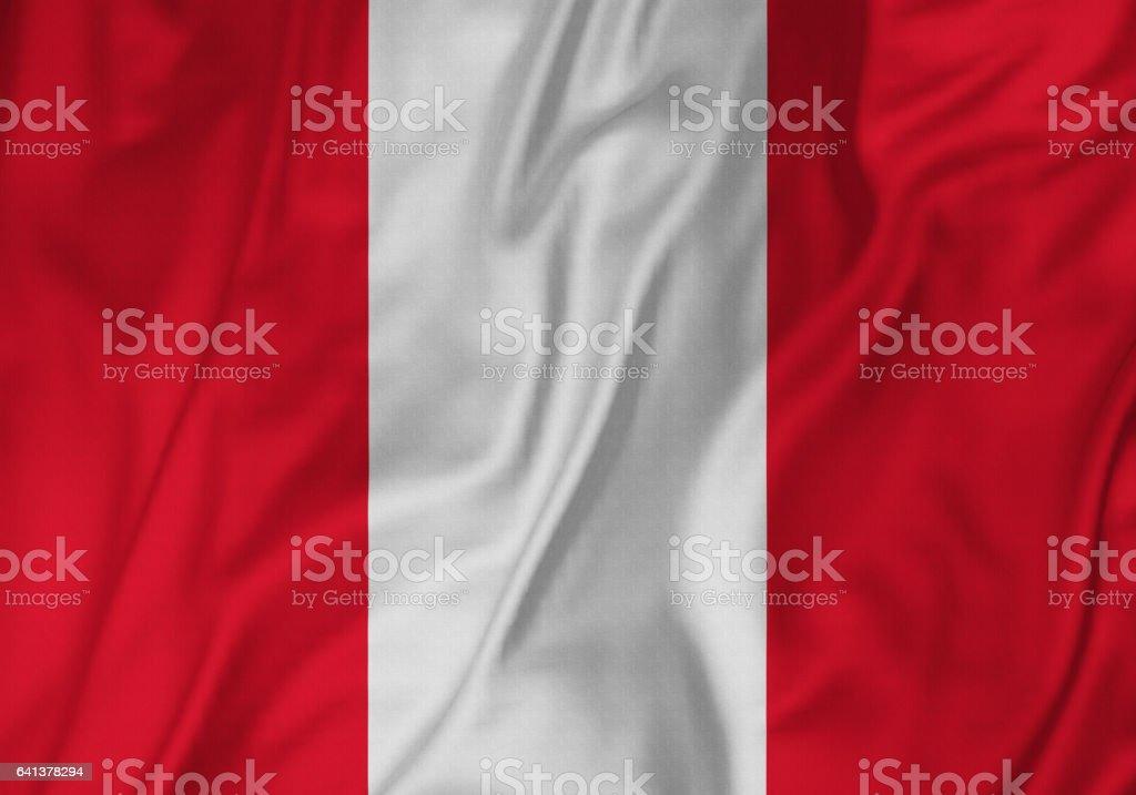 Closeup of Ruffled Peru Flag, Peru Flag Blowing in Wind stock photo