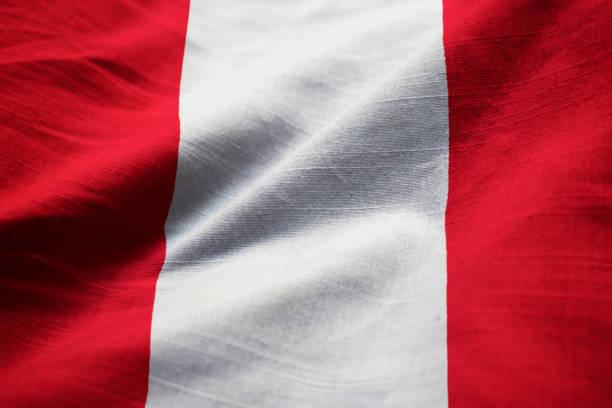 Closeup of Ruffled Peru Flag stock photo