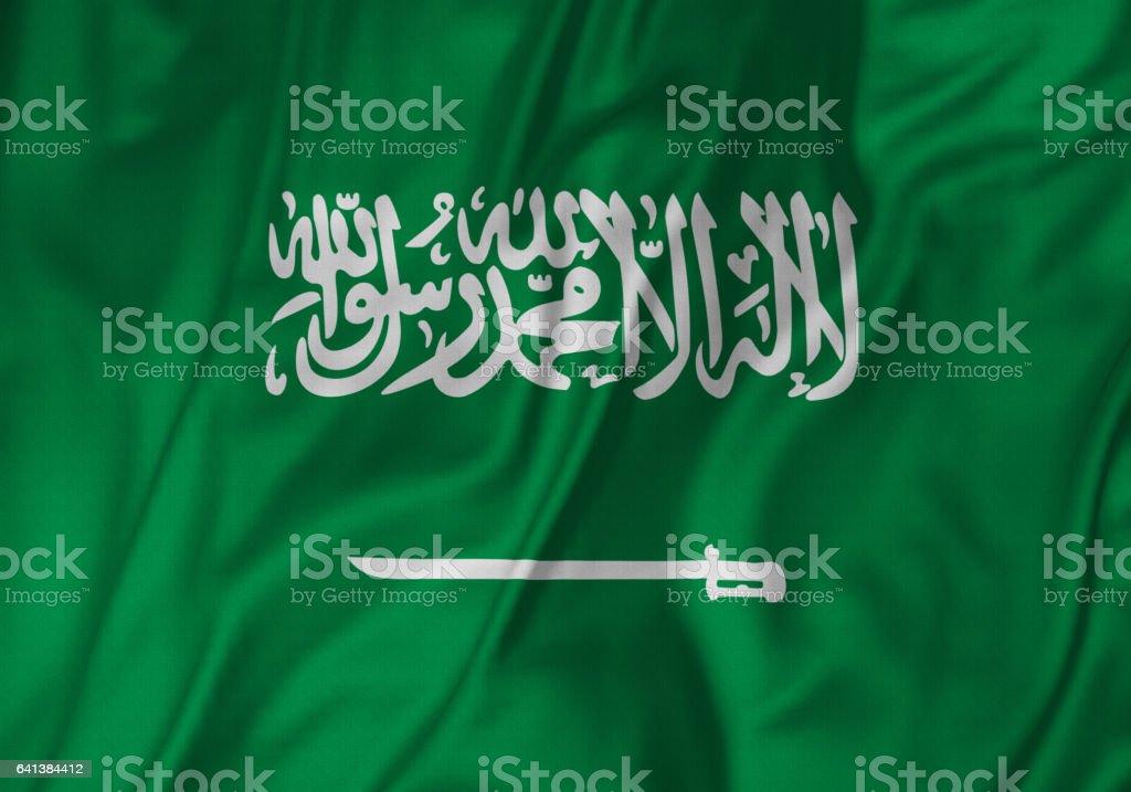 Closeup of Ruffled Saudi Arabia Flag, Saudi Arabia Flag Blowing in Wind stock photo