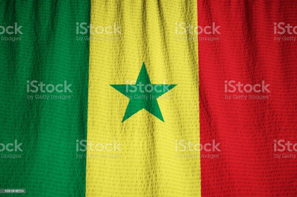Closeup da bandeira do Senegal babados - foto de acervo