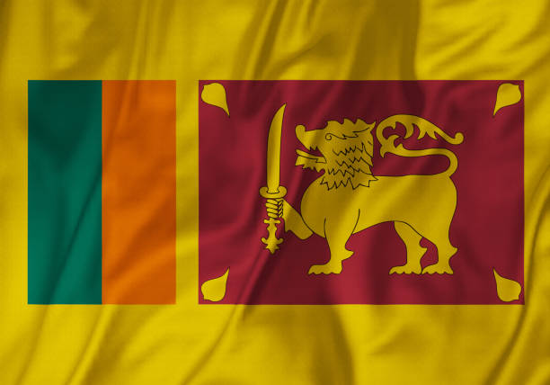Closeup Of Ruffled Sri Lanka Flag Blowing In Wind Stock Photo