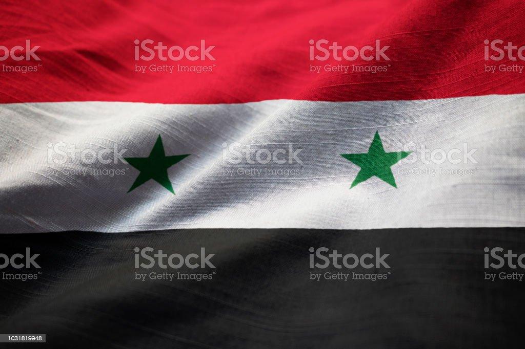 Closeup de la bandera de Siria con volantes - foto de stock