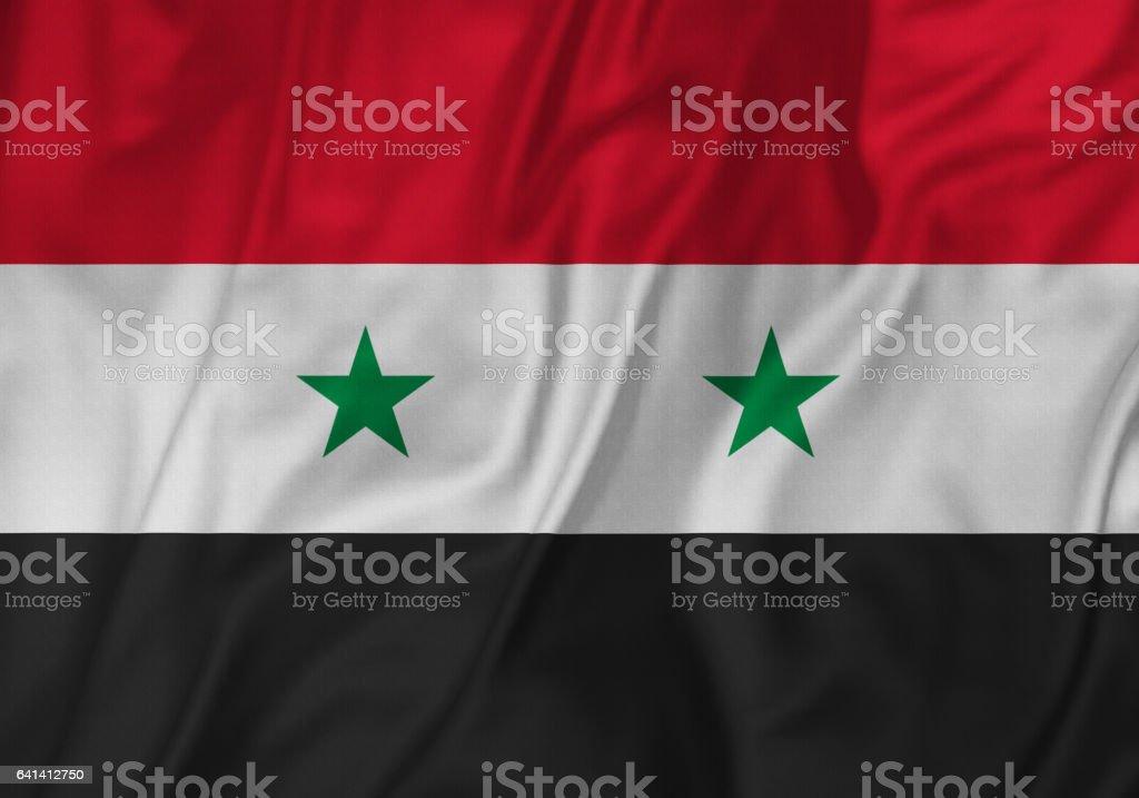 Closeup de la bandera de bandera, Siria Siria volantes soplando en el viento - foto de stock