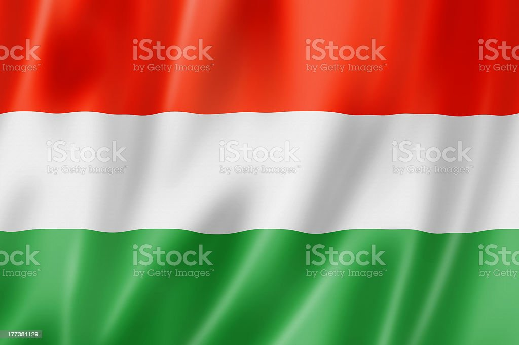 Close-up of rumpled Hungarian flag stock photo