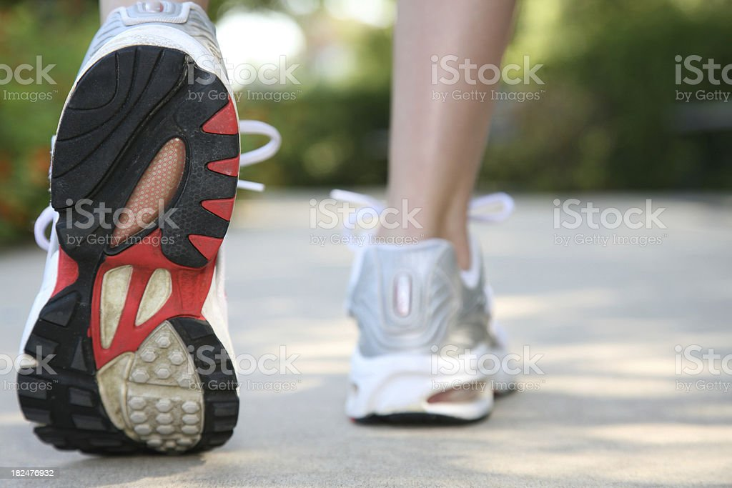Closeup of Running Shoes in Use royalty-free stock photo