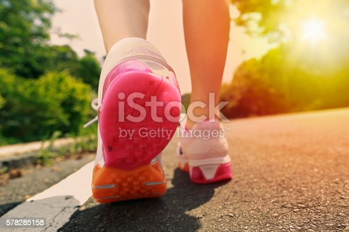 istock Closeup of Running Shoes in Use 578285158
