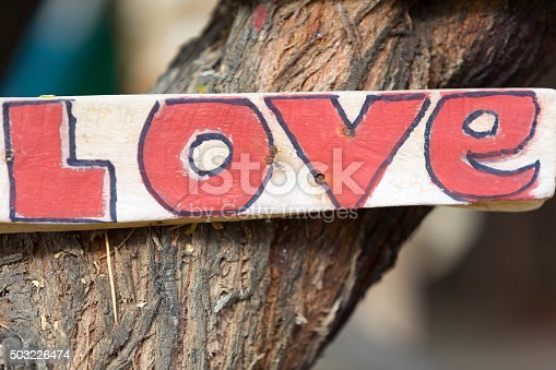istock Closeup of rustic wooden love sign hooked on a tree 503226474