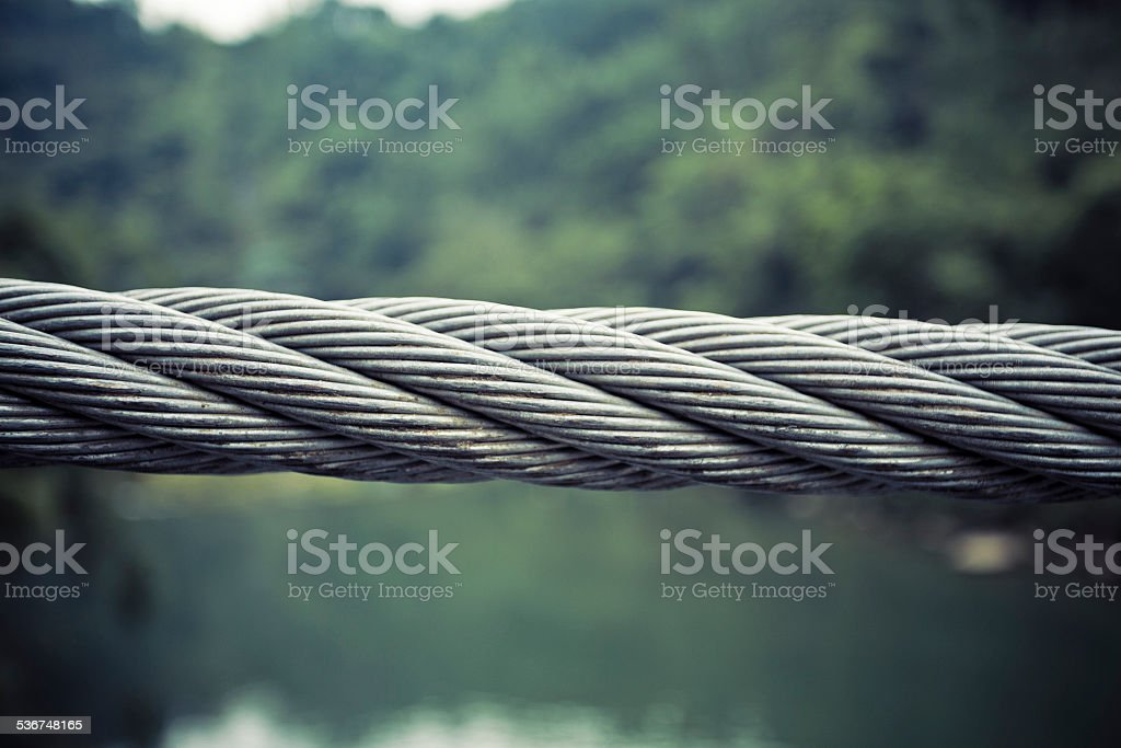 Closeup of rusty steel cables stock photo