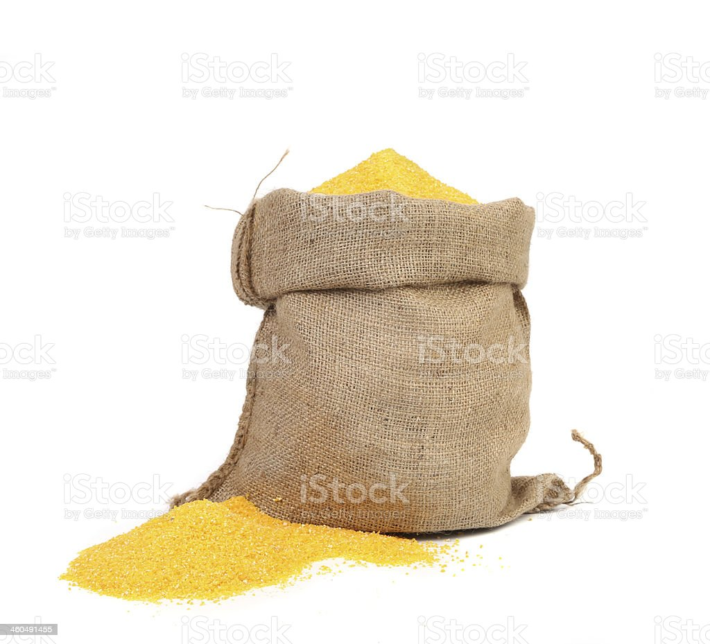 Closeup of sack with corn flour. stock photo