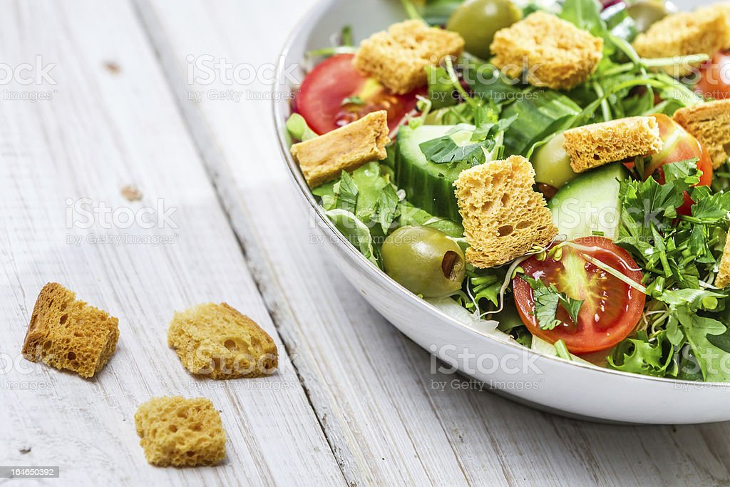 Closeup of salad with chicken and fresh vegetables royalty-free stock photo