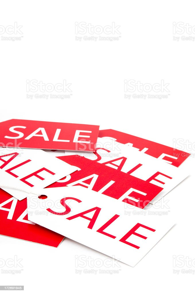 Close-up of sale tags stock photo