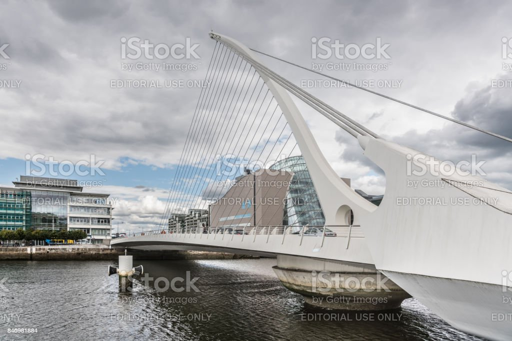 Closeup of Samuel Beckett Surpension Bridge, Dublin Ireland. stock photo