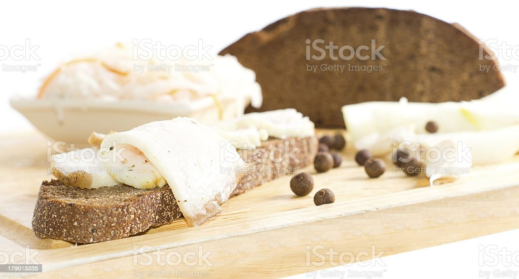 Close-up of sandwich being made royalty-free stock photo