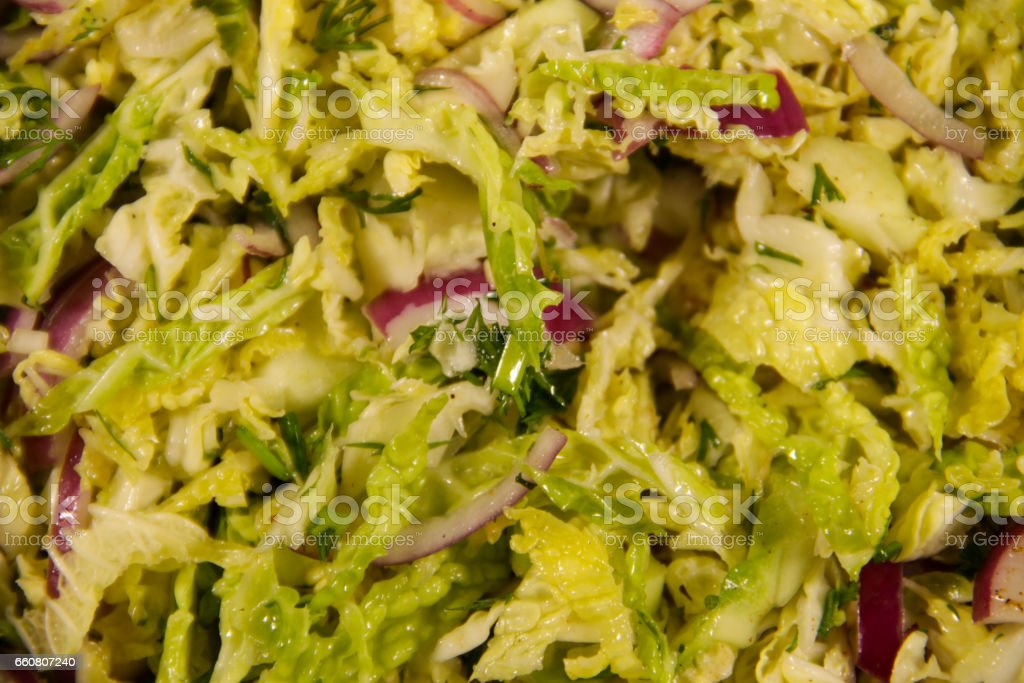 Closeup Of Savoy Cabbage Salad With Onion Stock Photo Download Image Now Istock