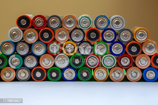 istock Closeup of saws of used alkaline batteries. Several in rows. Ecological pollution. 1176825527