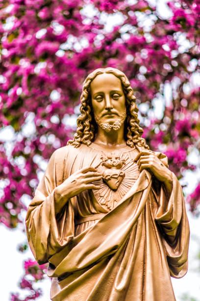 closeup of seminary golden statue of jesus christ in garden - jesus and heart zdjęcia i obrazy z banku zdjęć
