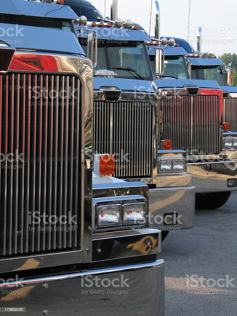 Close-up of semi-trailer truck front grills royalty-free stock photo