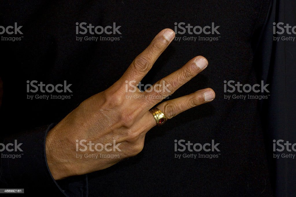Gesture - Number Three royalty-free stock photo