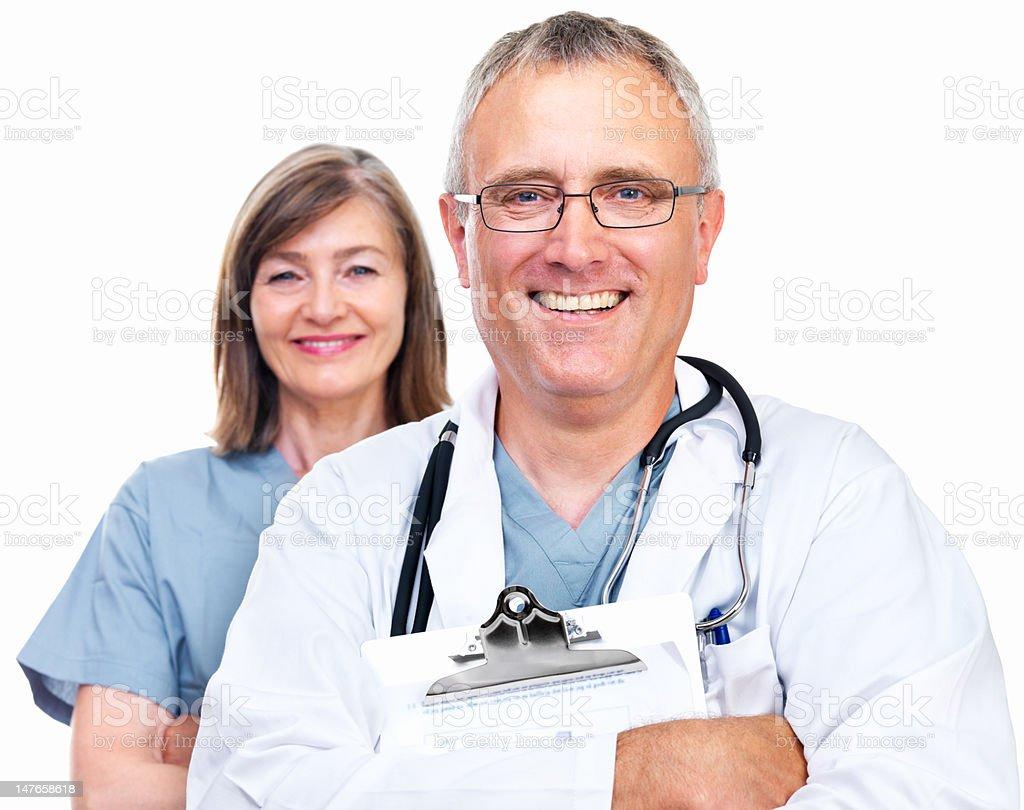 Close-up of senior doctors smiling on white background royalty-free stock photo