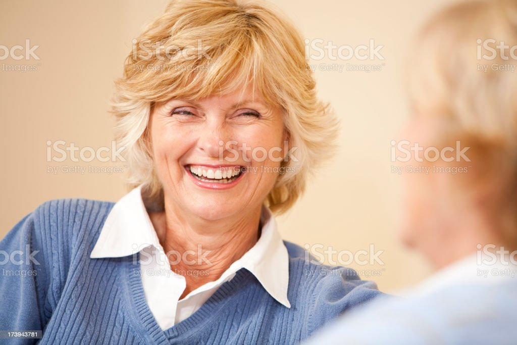 Close-up of senior woman smiling royalty-free stock photo