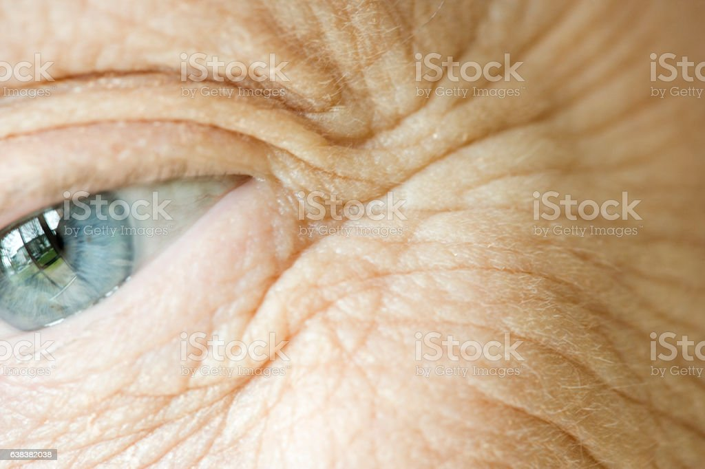 Close-up of senior woman's face wrinkles and eye stock photo