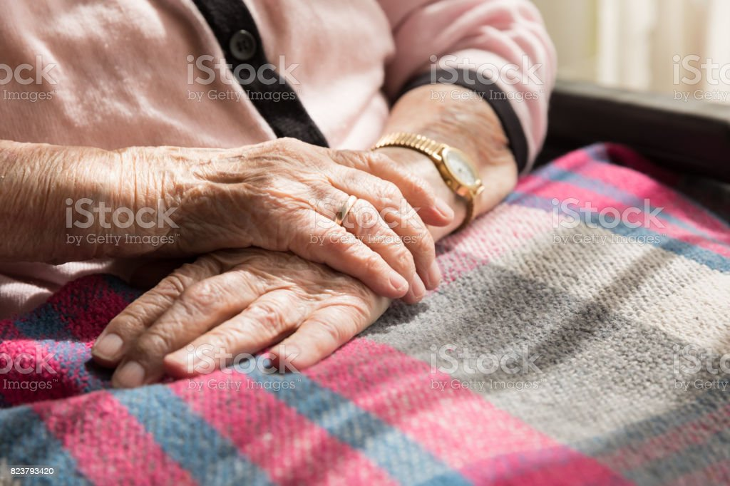 Close-up of senior woman's hands stock photo