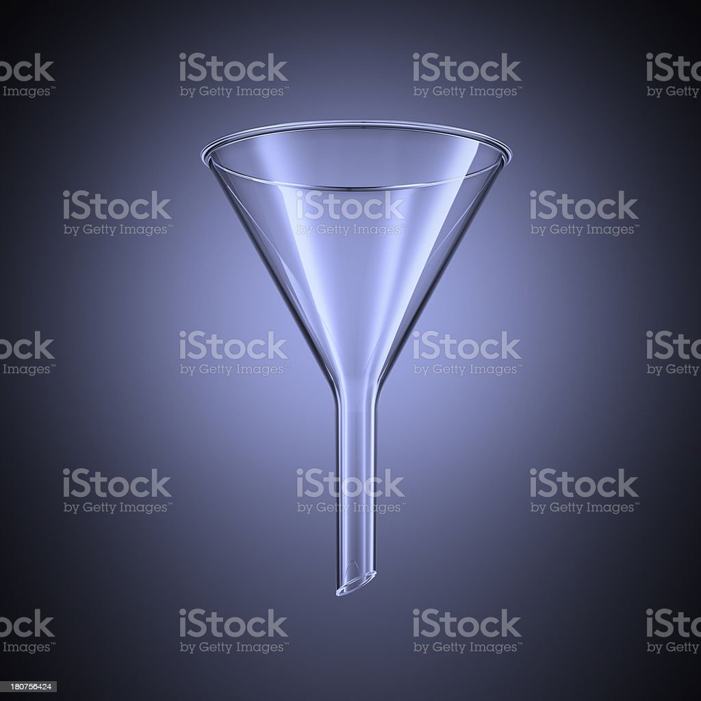 Close-up of separating funnel on blue background stock photo