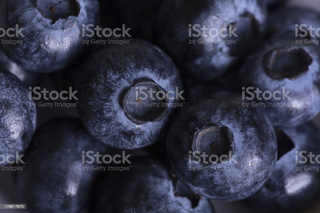Closeup of several dark blue blueberries. royalty-free stock photo