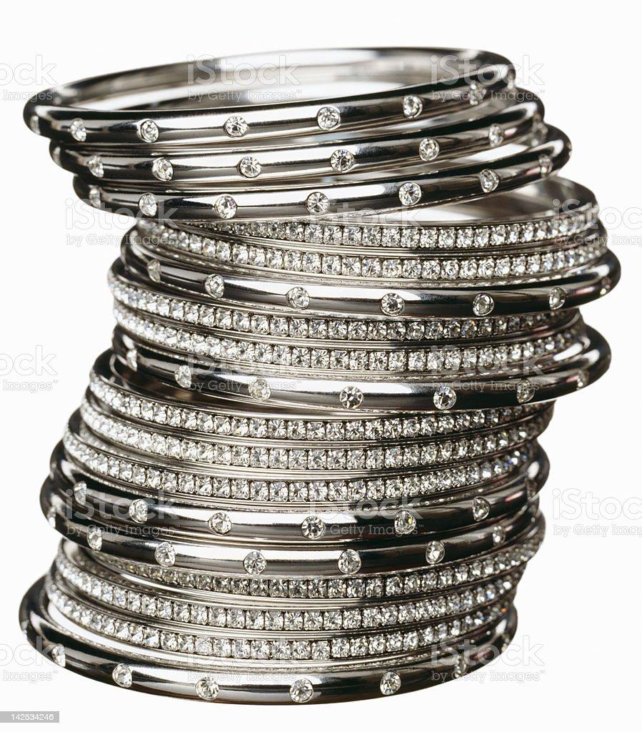 Close-up of several diamond bracelets stock photo