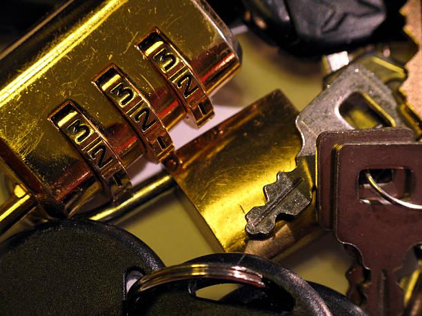 Closeup of several locks and keys stok fotoğrafı