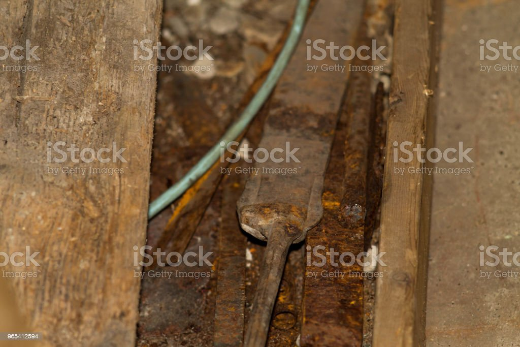 Closeup of several useful tools in the garage viewed from above royalty-free stock photo